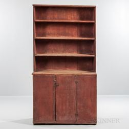 Red-painted Pine One-piece Step-back Cupboard