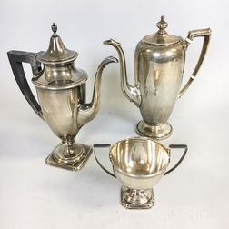 Two Sterling Silver Teapots and a Sterling Silver Sugar