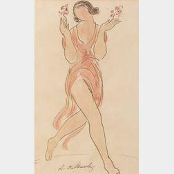 Abraham Walkowitz (American, 1878-1965)  Isadora Duncan Figural Sketch