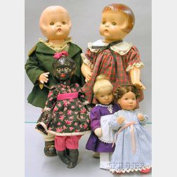 Five Assorted Composition Dolls