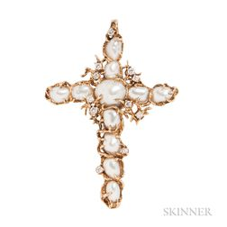 18kt Gold, Keshi Pearl, and Diamond Pendant, Arthur King