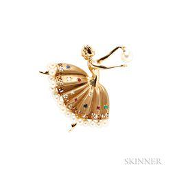14kt Gold Ballerina Brooch