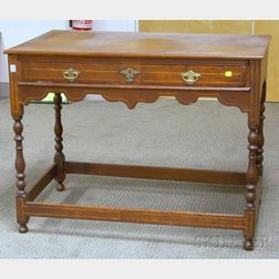 William & Mary Style Inlaid Oak Side Table with Long Drawer