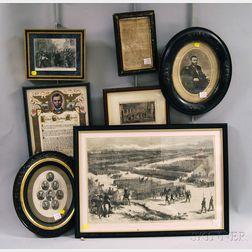 Seven Framed Civil War-related Items