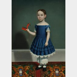Attributed to William Thompson Bartoll (Marblehead, Massachusetts, 1817-1859) Portrait of a Child Wearing a Blue Dress, Holding a Tinwa