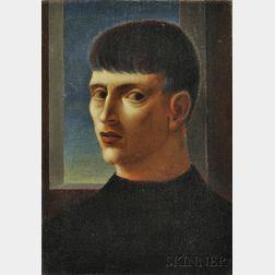 George Tooker (American, 1920-2011)      Portrait Head of a Man with a Sideways Glance
