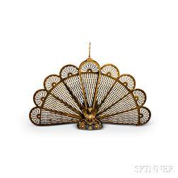 Cast and Pierced Brass Fan-form Firescreen