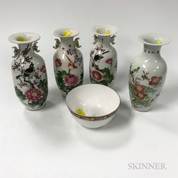 Four Enameled Vases and a Bowl