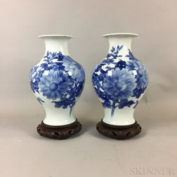 Pair of Blue and White Transfer Vases