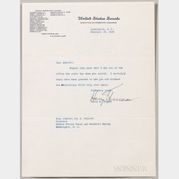 Truman, Harry (1884-1972) Typed Letter Signed, 18 February 1939.