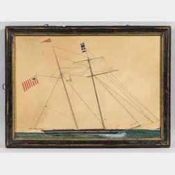 American School, 19th Century      Portrait of a United States Revenue Cutter