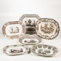 Eight Brown Transferware Platters