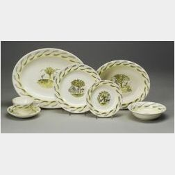 """Six Wedgwood """"Eric Ravilious"""" Designed Queen's Ware Items"""