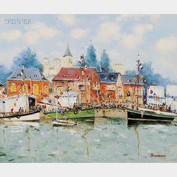 Jean Pierre Dubord (French, b. 1949)      Bateaux Pavoisés dans le Port de Caen