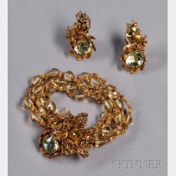 Vintage Colored Glass Bracelet and Earclips, Miriam Haskell