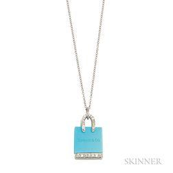 Platinum, Turquoise, and Diamond Shopping Bag Charm, Tiffany & Co.