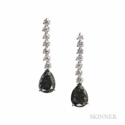 14kt White Gold, Black Diamond, and Diamond Earrings