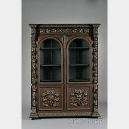 Renaissance Revival Carved Oak Display Cabinet