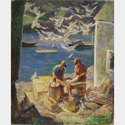 Edmund Franklin Ward (American, 1892-1991)      Monhegan Fishermen.