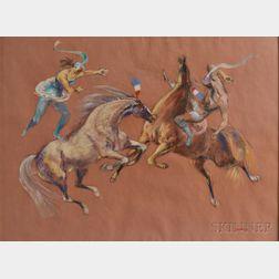 Jon Corbino (American, 1905-1964)      Plumed Riders (II)
