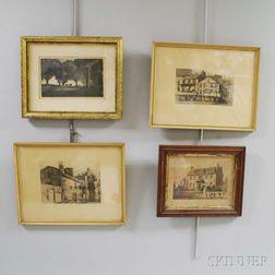 Four Framed Mostly Boston Prints