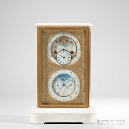 A. Brocot & Delettrez Gilt-bronze and Marble Perpetual Calendar Mantel Clock