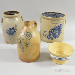 Three Cobalt-decorated Stoneware Vessels and a Dendritic-decorated Yellowware Bowl