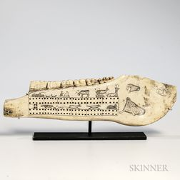 Eskimo Carved Musk Ox Jawbone Cribbage Board