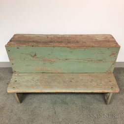 Green/Blue-painted Pine Bucket Bench