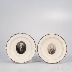 Two Herculaneum Creamware Commemorative Portrait Plates