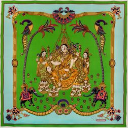 "Framed Hermes ""Indian"" Green Silk Scarf"