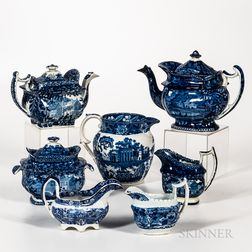 Seven Staffordshire Historical Blue Transfer-decorated Table Items