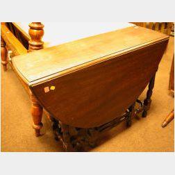 William & Mary Style Mahogany Drop-leaf Gateleg Table.