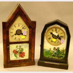 Jerome & Co. Rosewood Veneer Steeple Shelf Clock and a Rosewood Grained Shelf Clock.