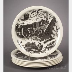 Six Wedgwood Claire Leighton Design Plates
