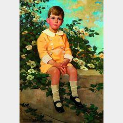 Jessie Willcox Smith (American, 1863-1935)      A Young Boy Sitting on a Garden Wall
