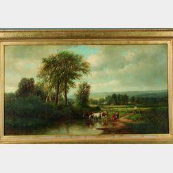Joseph Antonio Hekking (American, 1830-1903)      Cattle Watering