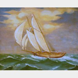 Framed Oil on Canvas Fully-Rigged Ship Under Sail