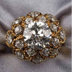 18kt Gold and Diamond Ring,