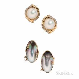 Two Pairs of 14kt Gold, Mabe Pearl, and Diamond Earrings