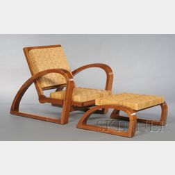 Francis Jourdain (1876-1958) Attributed Lounge Chair and Ottoman