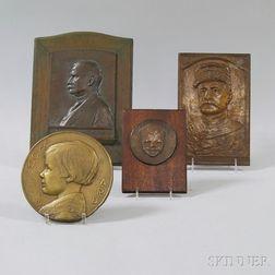 Four Bronze Portrait Plaques
