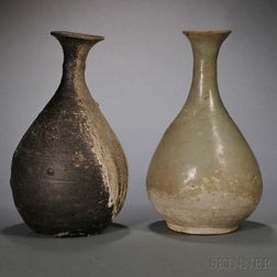 Two Pear-shape Bottles with Flared Mouths