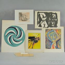 Five Unframed Modern Works