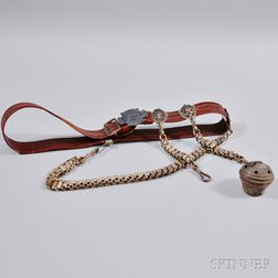 Fraternal Military-style Belt and a Small Metal Music Maker Toy