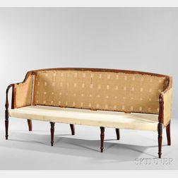 Carved and Inlaid Mahogany Sofa