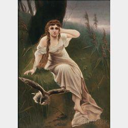 KPM Porcelain Plaque Depicting a Girl with a Bird