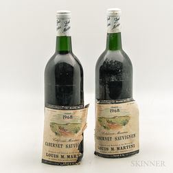 Louis Martini Cabernet Sauvignon California Mountain 1968, 2 bottles