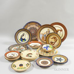 Twenty-six Pieces of Mostly HB Quimper Pottery