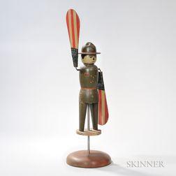 "Rare Painted World War I ""Doughboy"" Whirligig"